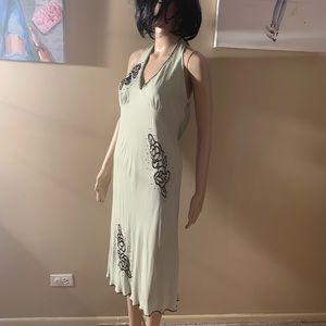 """Donna Ricco size 6 halter beaded dress length 47"""""""